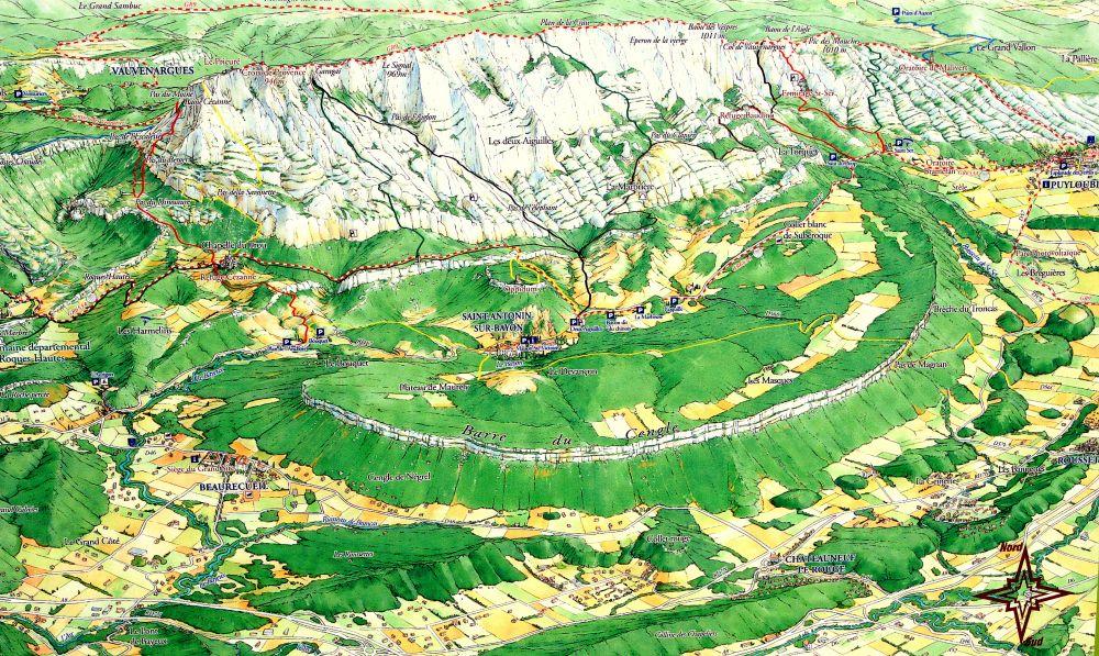 montagne sainte victoire carte Les sentiers balisés